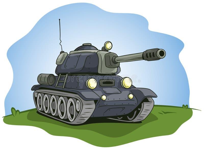 Grote tank van het beeldverhaal de grijze militaire leger vector illustratie