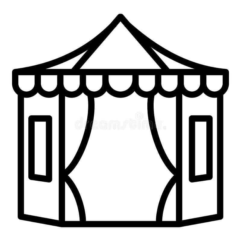 Grote tent met vensterspictogram, overzichtsstijl vector illustratie
