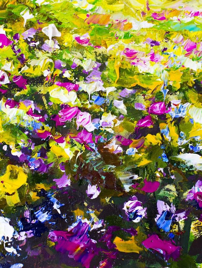 Grote textuur abstracte bloemen Sluit omhoog fragment van beeld van olieverfschilderij het artistieke bloemen Het paletmes bloeit royalty-vrije stock fotografie