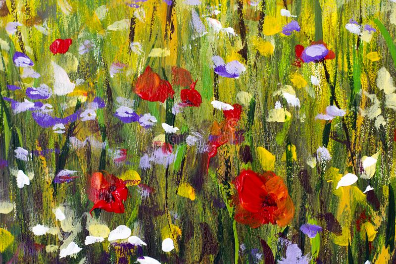 Grote textuur abstracte bloemen Sluit omhoog fragment van beeld van olieverfschilderij het artistieke bloemen Het paletmes bloeit vector illustratie