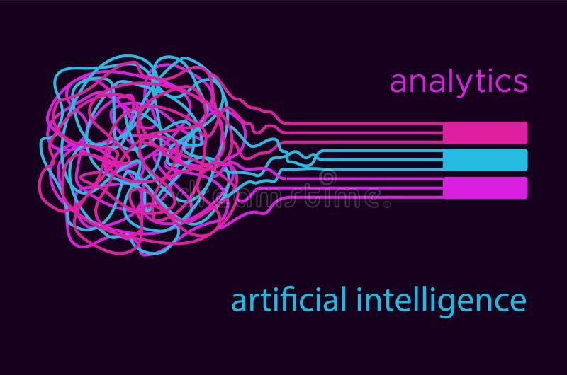 Grote van de informatieanalytics van de gegevenswetenschap vector vlakke illustation Kunstmatige intelligentie stock foto's