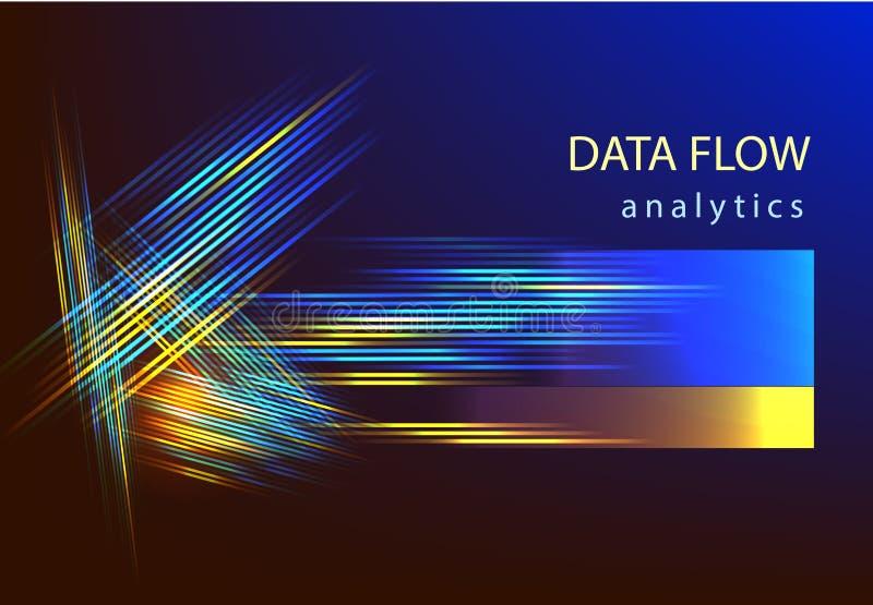 Grote van de informatieanalytics van de gegevenswetenschap vector vlakke illustation Kunstmatige intelligentie stock afbeelding