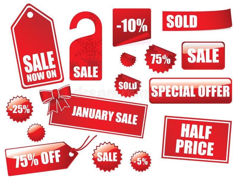 Grote van verkoopmarkeringen en stickers inzameling royalty-vrije illustratie