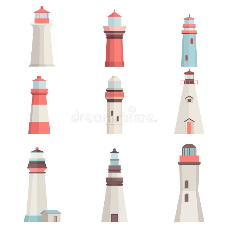 Grote vastgestelde beeldverhaal vlakke die vuurtorens op wit worden geïsoleerd Maritieme navigatie lichte toren Vuurtoren vectorp royalty-vrije illustratie