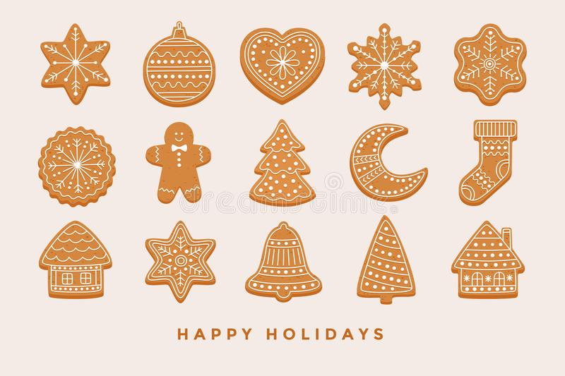 Grote vastgestelde Kerstmispeperkoek: peperkoekhuizen, halve maan, peperkoekmens, sneeuwvlokken, sok, Kerstboom, klok, ster, nieu stock illustratie