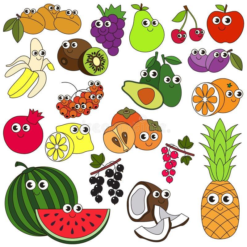 Grote vastgestelde kleurrijk van het de zomerfruit stock illustratie