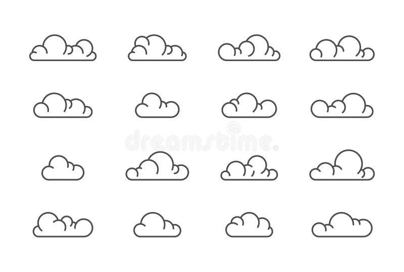 Grote vector de lijnreeks van wolkenpictogrammen stock illustratie