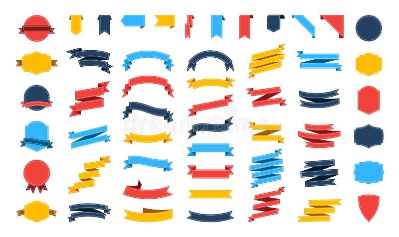 Grote vector geplaatste lintenbanners Vlakke die lintillustratie op witte achtergrond wordt geïsoleerd Linteninzameling vector illustratie