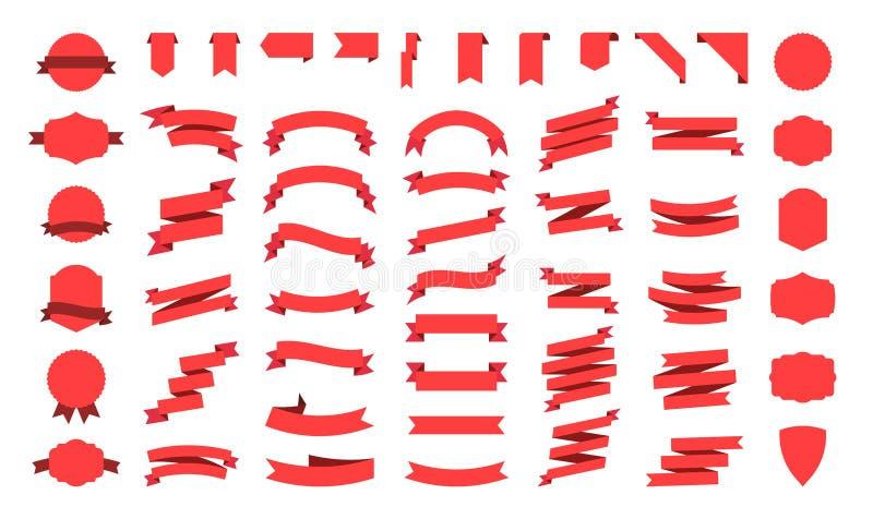 Grote vector geplaatste lintenbanners Vlakke die lintillustratie op witte achtergrond wordt ge?soleerd Linteninzameling vector illustratie