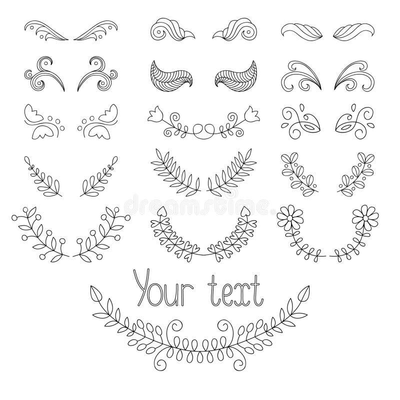 Grote vector kalligrafische inzameling en paginadecoratie met kronen, lijnenverdelers Hand getrokken ontwerpelementen royalty-vrije illustratie