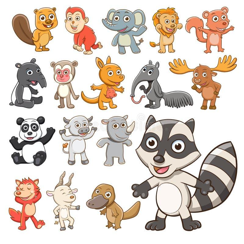 Grote vectorreeks dieren Inzameling van leuke dieren in beeldverhaal royalty-vrije illustratie
