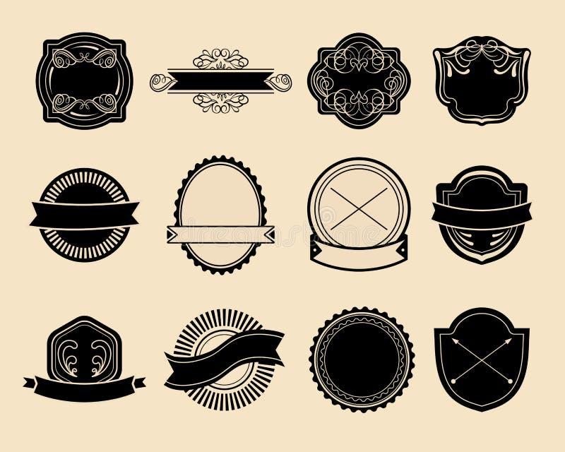 Grote vectorreeks uitstekende etiketten, hipster embleemelementen, linten, logotype malplaatje royalty-vrije illustratie