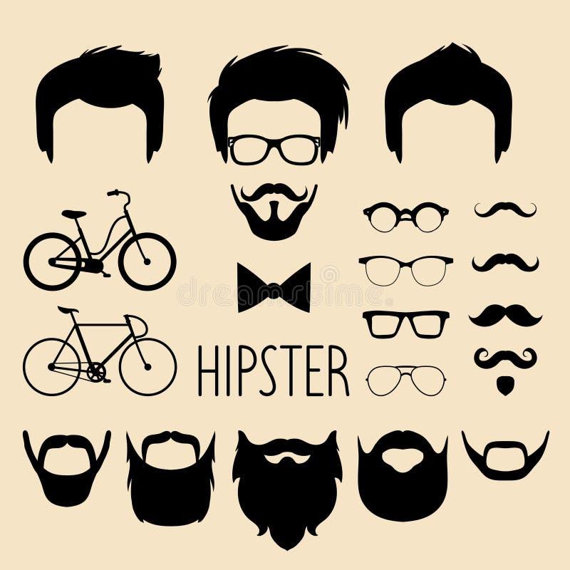 Grote vectorreeks van kleding op aannemer met verschillende mensen hipster kapsels, glazen, baard enz. De mannelijke schepper van royalty-vrije illustratie