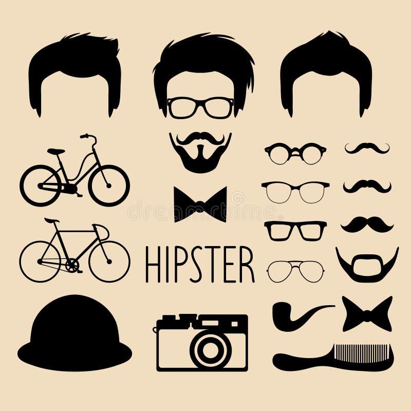Grote vectorreeks van kleding op aannemer met verschillende mensen hipster kapsels, glazen, baard enz. De vlakke schepper van het royalty-vrije illustratie