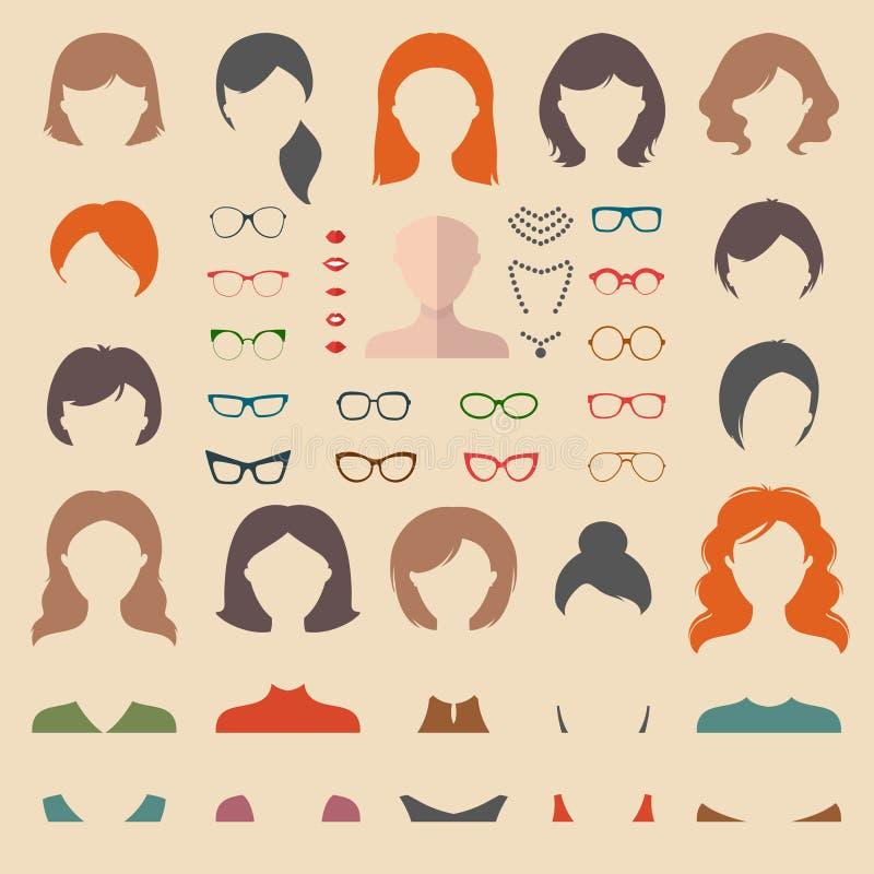Grote vectorreeks van kleding op aannemer met verschillende vrouwenkapsels, glazen, lippen enz. De vlakke schepper van het gezich stock illustratie