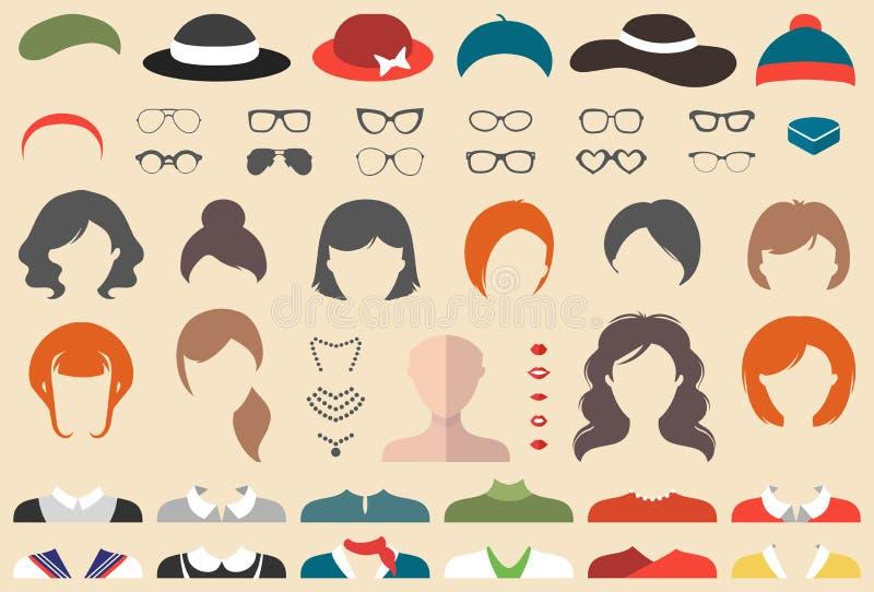 Grote vectorreeks van kleding op aannemer met verschillende vrouwenkapsels, glazen, lippen, slijtage enz. De vrouwelijke schepper vector illustratie