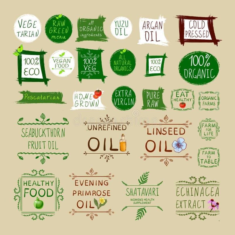 Grote VECTORreeks verschillende gezonde het eten etiketten stock illustratie