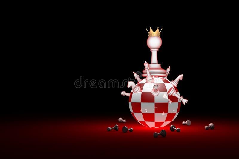 Grote veranderingen De nieuwe heerser Het schaakmetafoor van de elitemaatschappij 3D r stock illustratie
