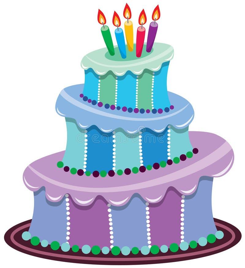 Grote verjaardagscake vector illustratie