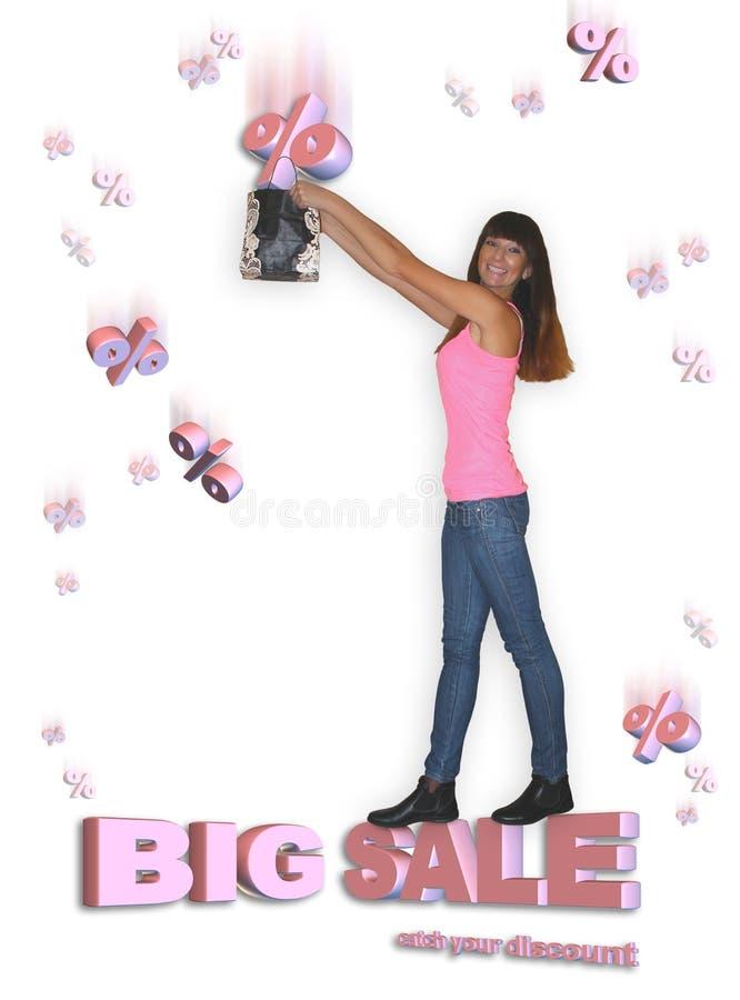 Grote verkoop Jonge vrouw die kortingspercenten vangen royalty-vrije stock afbeelding
