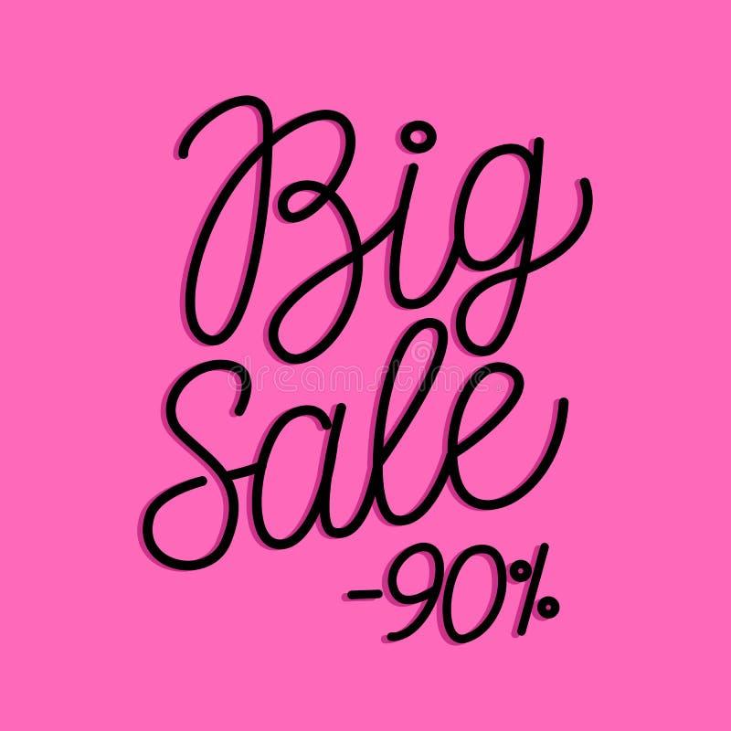 Grote Verkoop zwarte lijn het van letters voorzien inschrijving op roze achtergrond Vectorhand darwn stock illustratie
