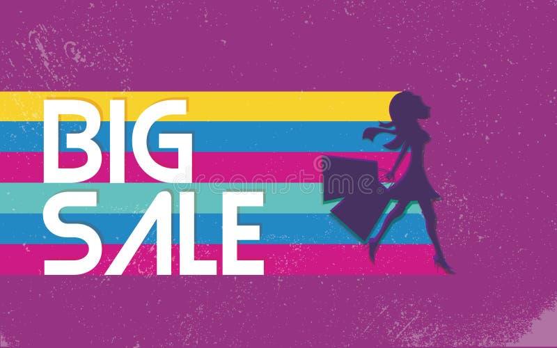Grote verkoopaffiche met vrouw het winkelen voor manierkleren de jaren '80 vectorbanner als achtergrond, heldere levendige kleure vector illustratie