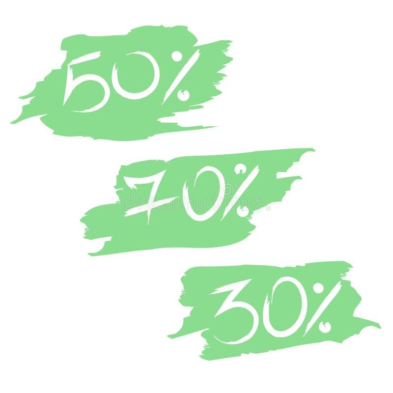 Grote Verkoopmarkeringen met korting op de inkblot stickers vector illustratie