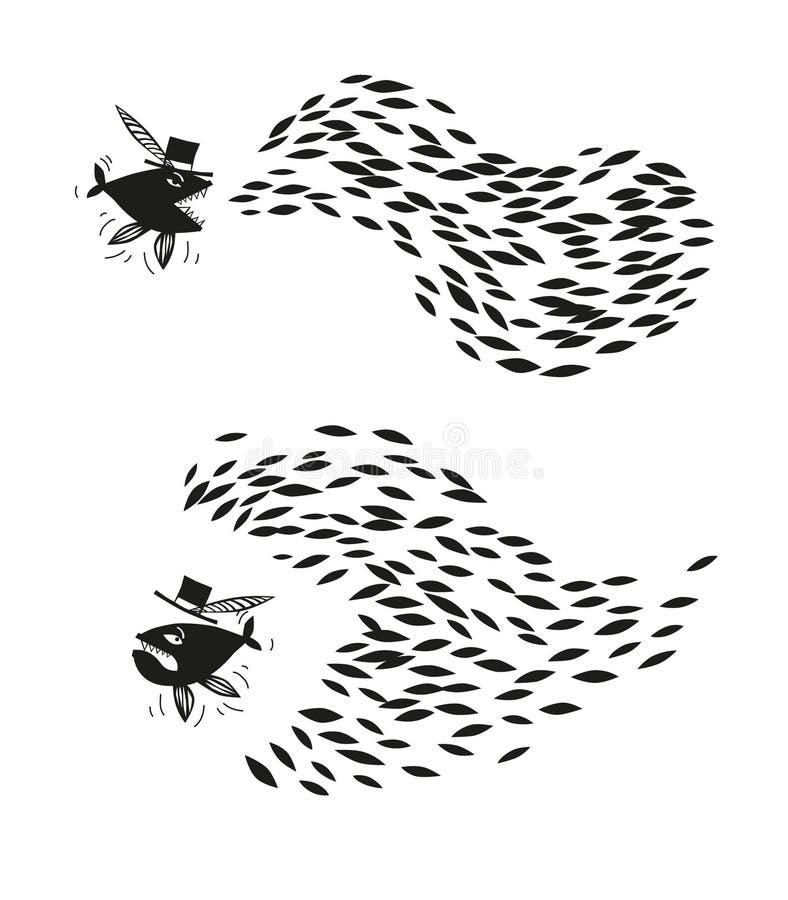 Grote vissen en kleine vissen Samen zijn wij sterker, slechts samen zullen wij winnen! royalty-vrije illustratie