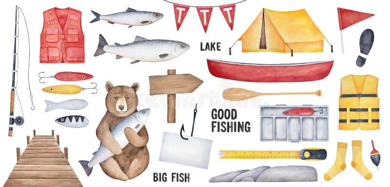 Grote Visserijinzameling van diverse visserijhulpmiddelen, bruin beerkarakter, gele tent, houten uithangbord, vishaak met documen stock illustratie