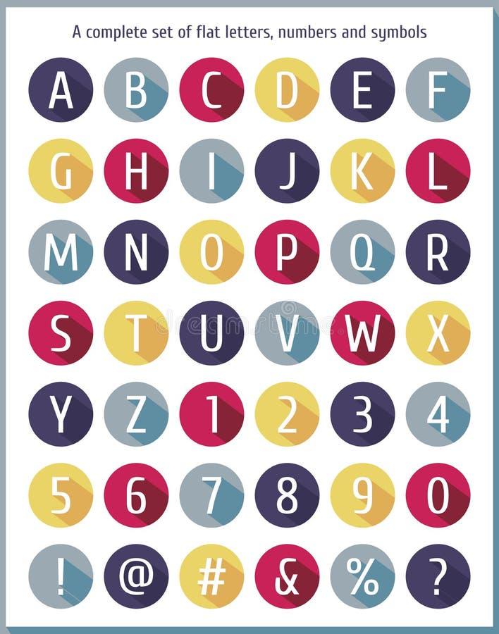 Grote vlakke reeks letters van het alfabet, getallen en symbolen Vlakke kleurrijke brief van het alfabet Vlak pictogrammenalfabet stock illustratie