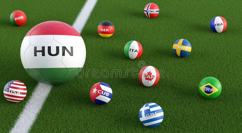 Grote Voetbal in Hongarije: nationale kleuren omgeven door kleinere voetbalballen in andere nationale kleuren vector illustratie