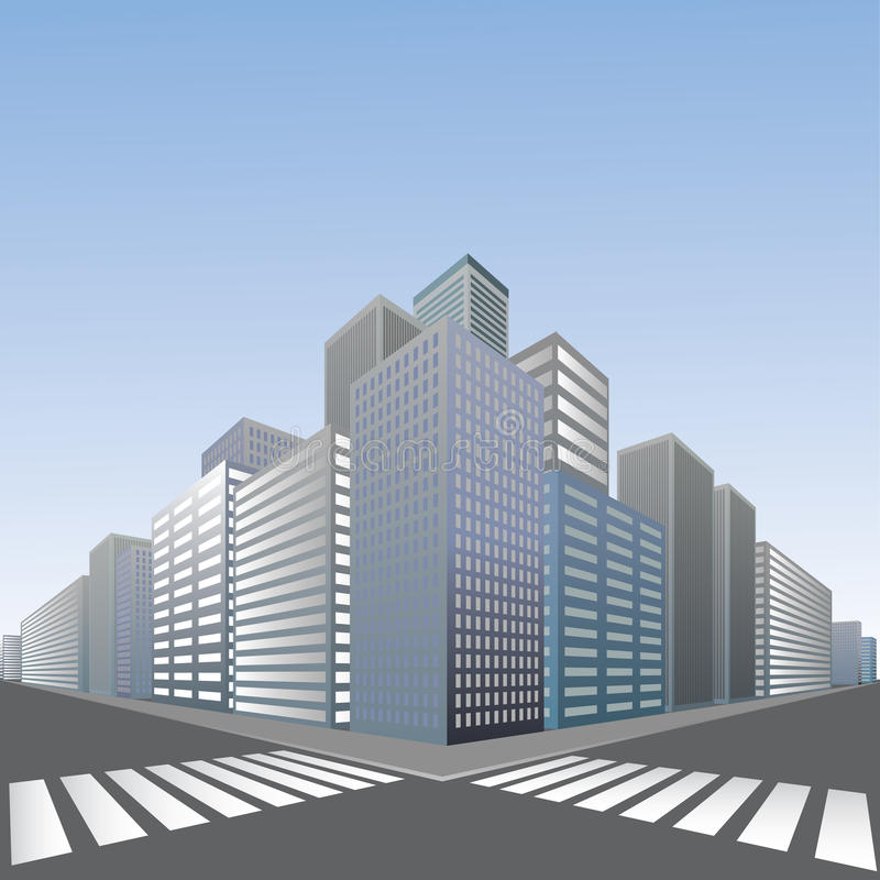 Grote voetgangersoversteekplaats in stad royalty-vrije illustratie
