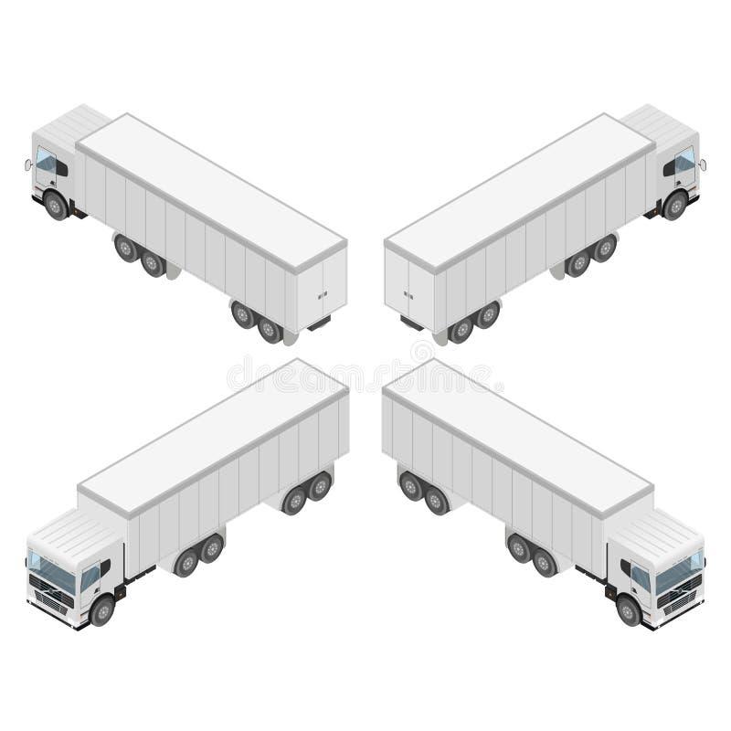 Grote vrachtwagen in isometrisch Ladingsvervoer vector illustratie