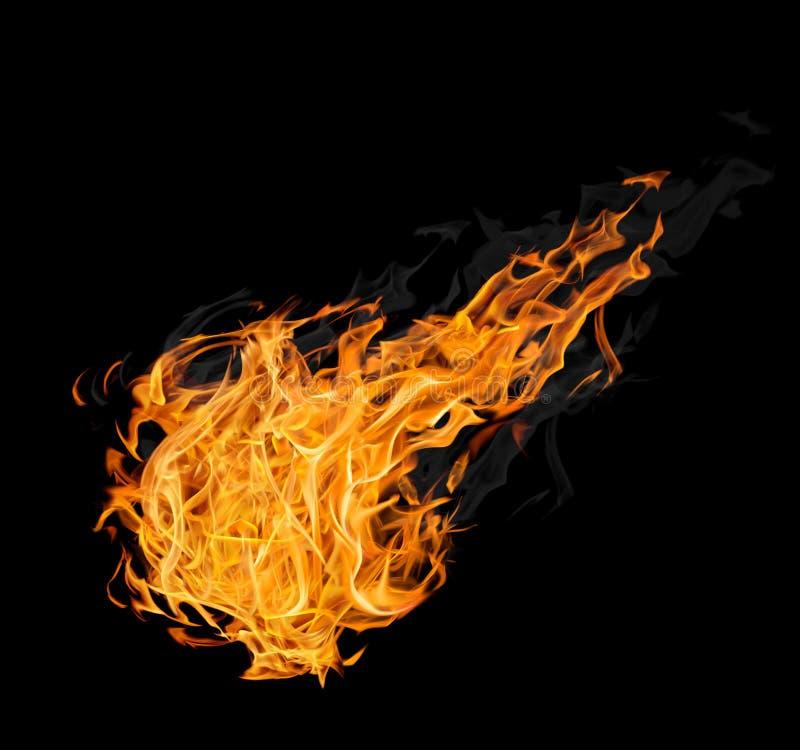 Grote vuurbol met rook op zwarte royalty-vrije stock foto's