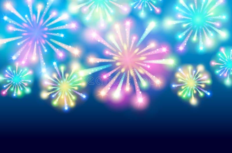Grote Vuurwerkvertoning - vectorillustratieachtergrond royalty-vrije illustratie