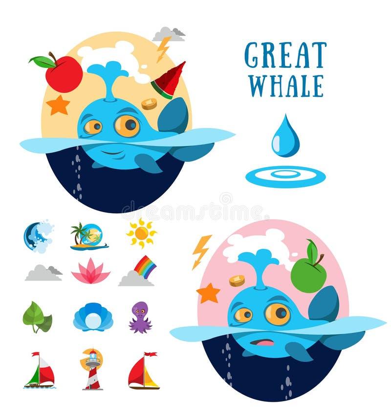 Grote walvis en oceaanpictogrammen royalty-vrije illustratie