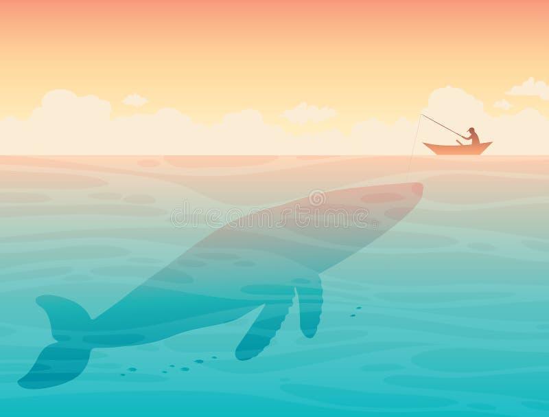 Grote walvis en visser stock illustratie