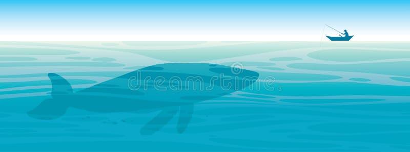 Grote walvis, visser, overzees, hemel vector illustratie
