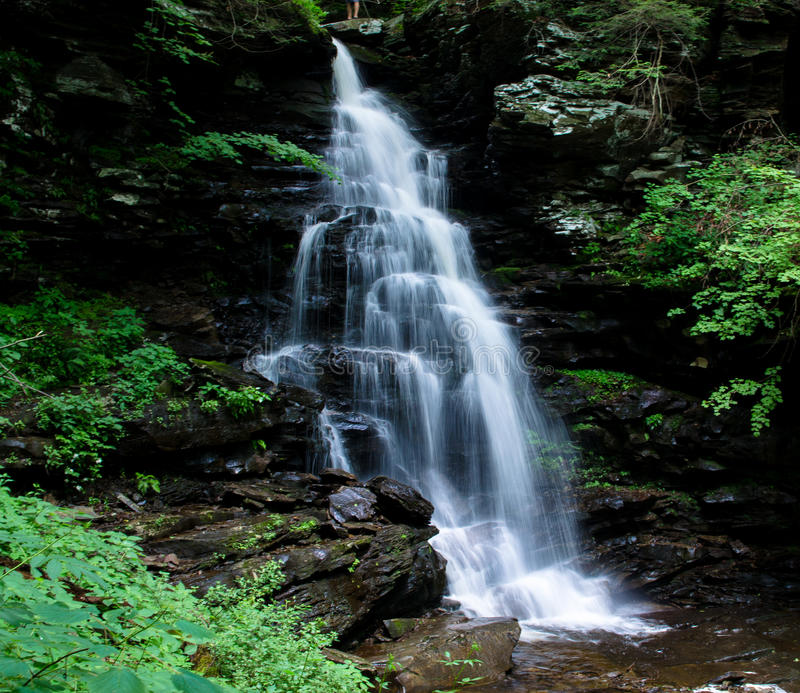 Grote waterval die over rotsen in een park stromen stock afbeelding