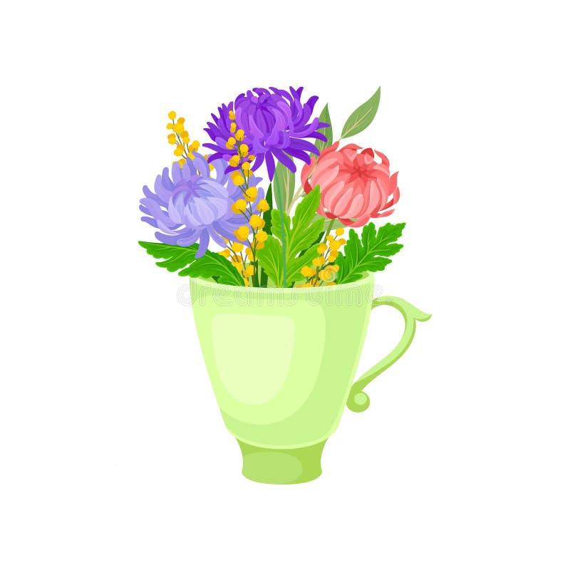 Grote weelderige bloemen in de mok Vector illustratie op witte achtergrond royalty-vrije illustratie