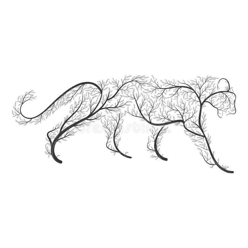 Grote wilde die kat door struiken voor gebruik als emblemen op kaarten, in p wordt gestileerd royalty-vrije illustratie