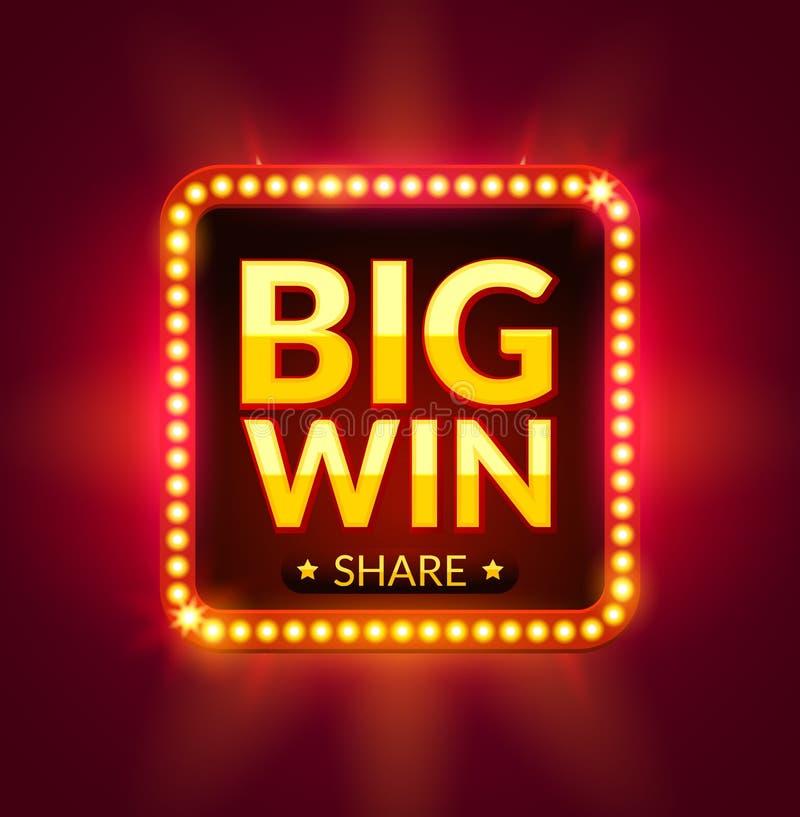 Grote Winst gloeiende banner voor online casino, groef, kaartspels, pook of roulette Het ontwerpachtergrond van de potprijs Winna vector illustratie
