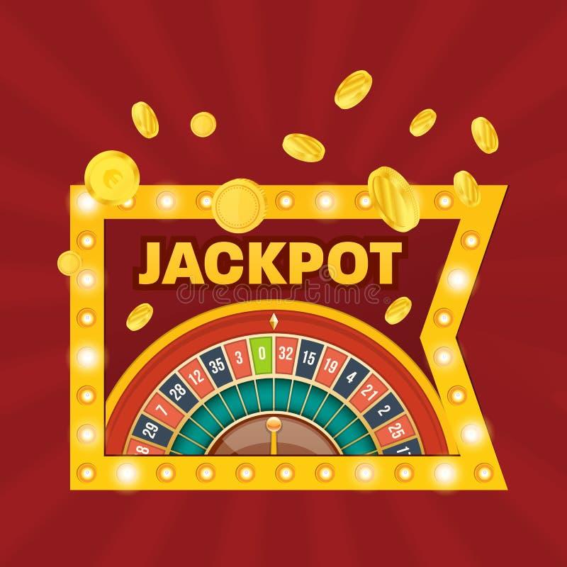 Grote winstpot Winstteken De winnaar van de casinopot Gelukkig, succes vector illustratie