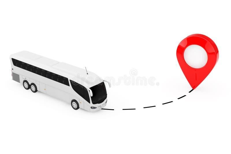 Grote Witte Bus Tour Bus Drive aan Wijzer het 3d teruggeven stock illustratie
