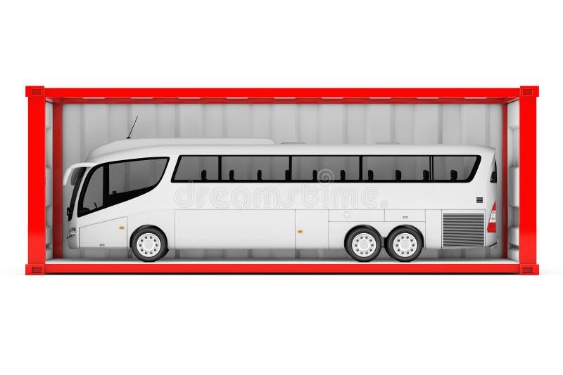 Grote Witte Bus Tour Bus in Rode Verschepende Container met Verwijderd royalty-vrije illustratie
