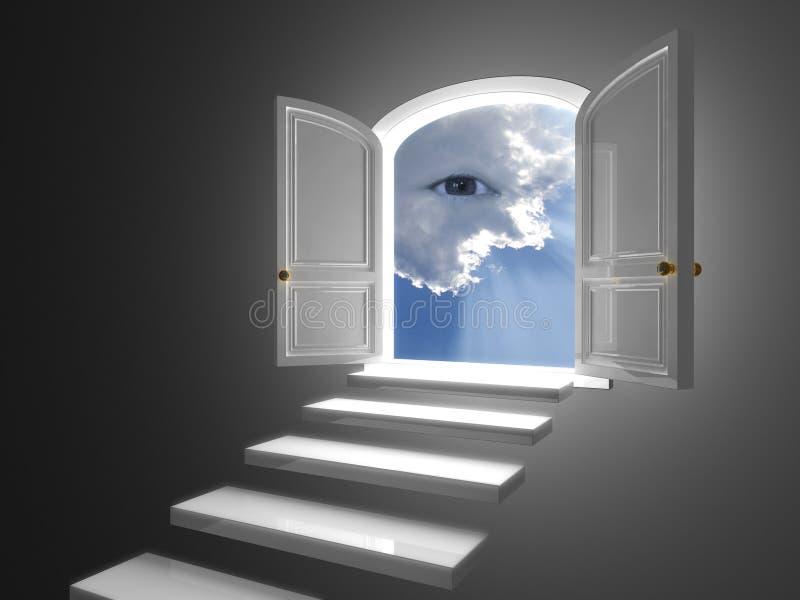Grote witte deur die op een mystic oog in wolken wordt geopend vector illustratie