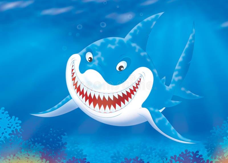 Grote witte haai op een ertsader vector illustratie