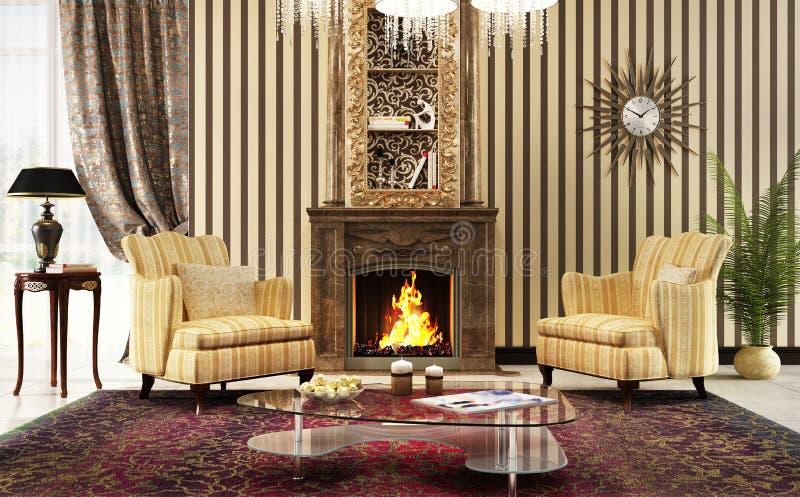 Grote woonkamer in klassieke stijl met open haard en leunstoelen royalty-vrije stock afbeelding