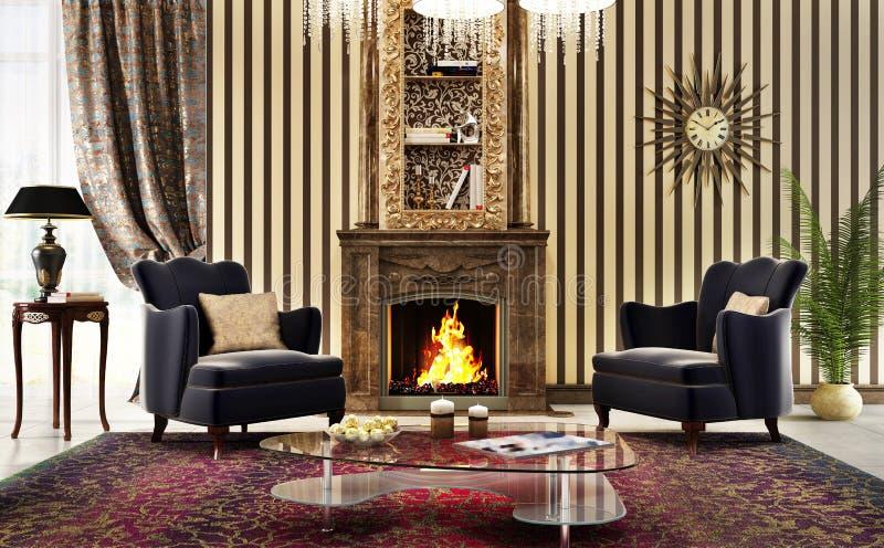 Grote woonkamer in klassieke stijl met open haard en leunstoelen stock fotografie
