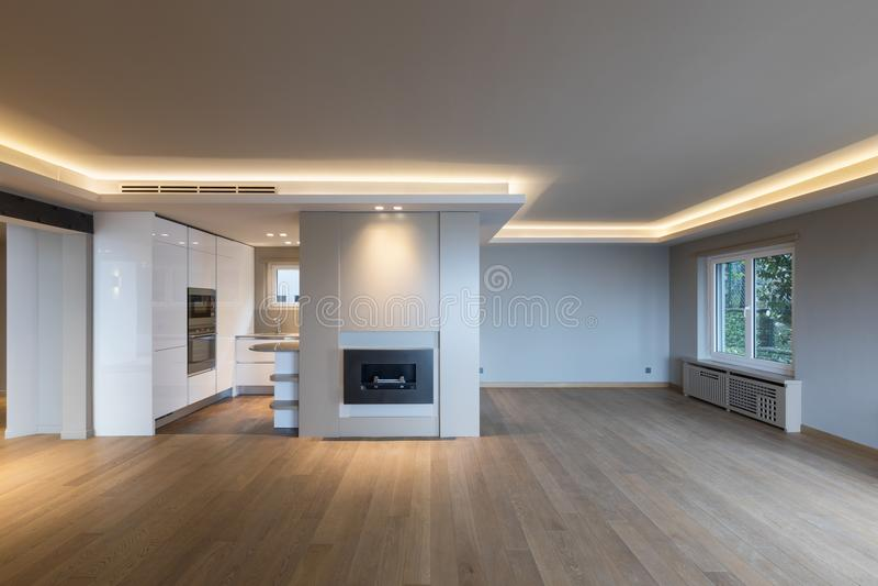 Grote woonkamer in moderne flat royalty-vrije stock foto's